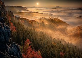 Sunrise from the rocks of Bohemian Switzerland