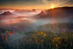 Sunrise from the rocks of Saxon Switzerland